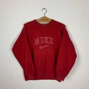 90s Vintage Men's NIKE Crew Neck Big Logo Red Sweatshirt Size Large