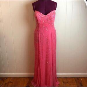 NWT $289 Tiffany Elegant Peach Coral Gauzy Silk Beaded Prom Party Gown Sz M/L
