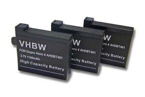 3x Batterie 1160mAh Li-Poly pour GoPro Hero 4, Hero 4 Black, Hero 4 Silver, Hero