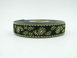 0,48 €//m 25m Borte  Paisley 15mm Breit Schwarz Lurex Gold