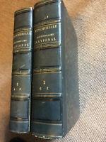 Becherelle Dictionnaire National de la Langue Française 1851 en deux tomes