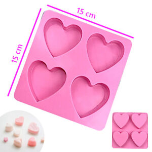 Silicone Heart shaped mould 4 large cells Cookies baking Chocolate soap Moulds