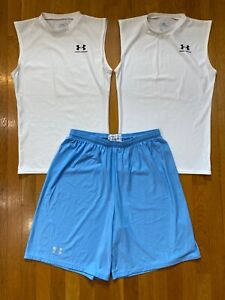 Under Armour Compression Fit Shirts Shorts Lot white blue Mens LARGE