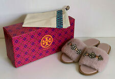 NEW TORY BURCH ASPEN EMBELLISHED SHEARLING SEA SHELL PINK SLIDES SANDALS SHOES 7