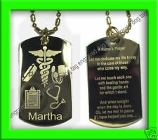 NURSE'S PRAYER GOLD ENGRAVED DOG TAG +PERSONALIZED