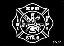 Fire Department Decal Maltese Cross custom personalized Firefighter sticker