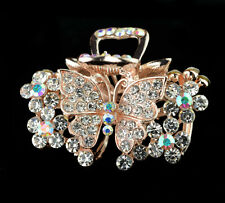 jewelry women hair extension crystal rhinestone barrette clip comb butterfly ww