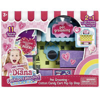 Love Diana: Doll & Pet Grooming/Cotton Candy Cart 2-In-1 Playset Pop-Up Shop NEW