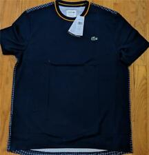 Mens Lacoste Sport Striped Collar Ultra Dry T-Shirt Navy Blue 7 (2XL) $70