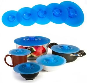 Silicone Suction Lids - Set of 5 BPA Free Airtight Silicone Lids and Food Covers
