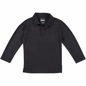 George School Uniform Boys Long Sleeve Performance Polo Shirt, (Black, Size XLar