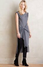Anthropologie RO & DE XS Gathered Knit Tunic Grey/Gray/Charcoal Dress NWT