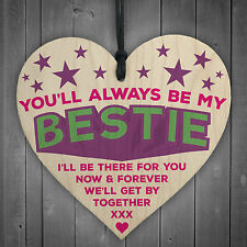 Always Be My Bestie Hanging Wooden Heart Plaque Love Sign Cute Friendship Gift
