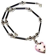 "14"" Black Pink Heart Silver Choker Necklace Pendant Bead Tibetan Artisan Boho"