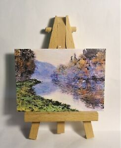 The Seine at Jenfosse ACEO Original PAINTING a Ray Dicken a Claude Monet