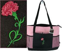 Pink Carnation Flower Monogram Gemline Pink Zipper Tote Valentine Mom Love Gift