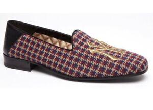 NIB Gucci x NY Yankees Blue/Red Wool Cross Check Plaid Loafers 6EU/7US $990.00