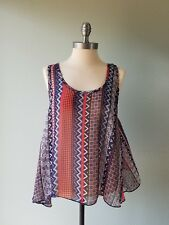 Sweet Claire Size Small Orange Blue Chevron Sheer Cami Tank