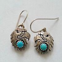 Vtg Sterling Silver & Turquoise Eagle Dangling Earrings FC Fredrick Chavez?