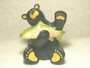 "BEARFOOTS BEARS 6"" BEAR FIGURINE CHUCKIE W RAINBOW TROUT BY JEFF FLEMMING - NICE"