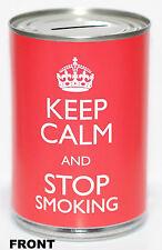 2x Keep Calm & Stop Smoking Novelty Money Tin - Stoptober Savings Tin Jar Box