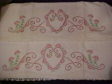 Vint Embroidered Pillowcases w/ Pink Flowers & Heart, White Crochet Trim