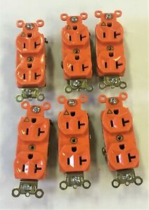 LOT OF 6- Pass & Seymour IG6300 Duplex Receptacle Isolated Grnd 20A 125V,Orange