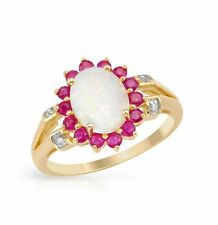 DIAMOND OPAL & RUBY RING 10 K YELLOW GOLD 1.7 2 CWT ENGAGEMENT RING EARTH MINED