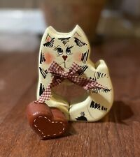 Collectible Hand Carved Painted Wooden Cat with Heart