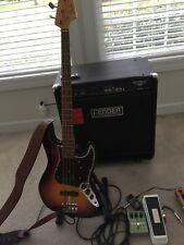 Fender American Vintage 65 Jazz Bass With 150 Watt Fender Rumble Amp And Pedals.
