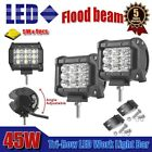 "2x Tri-Row 45W 4"" INCH Led Work Light Bar Flood Offroad 4WD ATV Jeep Truck Suv"