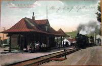 1908 NY Postcard-Ulster & Delaware Railroad Depot/Station-Stamford-Catskills, NY