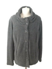 Per Una M&S Large 14 16 Grey Black Soft Stripe Jacket Cardigan Autumn Casual