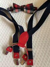 Cat & Jack Boys 2T-5T Plaid Bow Tie & Suspenders Set Christmas Holiday