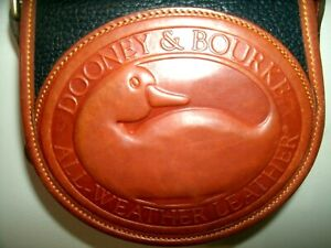 "Dooney &Y Bourke ""Big Duck"" Pristine Navy Blue and Tan Pebbled Leather Crossbody"