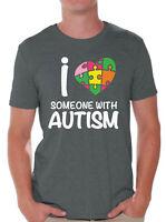Men's Autism Awareness Shirt I Love Someone with Autism T-Shirts