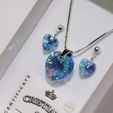 Blue Heart Swarovski Elements Necklace Crystal Pendant Set Earrings Ladies !