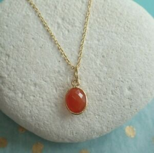 Sterling Silver Gold Vermeil Pendant Faceted Carnelian - Aries - Stabilizing