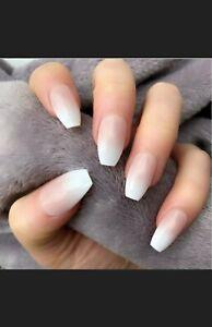 Ombre Natural nude white Medium Coffin Ballerina Fake False Press On Nails