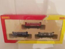 HORNBY R6482 LWB OPEN WAGONS / TRUCKS PACK OF 3 NEW OO GAUGE