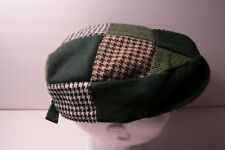 Irish Wool Flat Cap Houndstooth Patchwork Shamrock Ireland Green St Patricks
