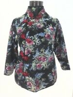 Oriental Kimono Jacket Asian Mandarin Floral Blouse Top Black/Pink Women's XS/S