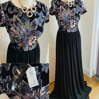 Betsy Adam Embellished Ball Gown Maxi Dress BNWT SZ 8 Navy Black $325.00