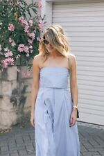 SCANLAN THEODORE Cotton Stripe Strapless Dress 6 Blue White Nautical Voile