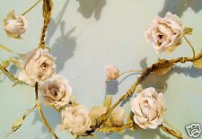 2 x Ivory Flower Garland Roses Shabby Chic Vintage Wedding Bedroom Decoration