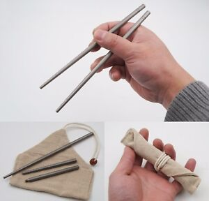 Titanium Chopsticks Screw apart Metal Tableware Solid portable travel camping