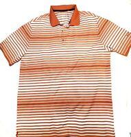 Nike Golf Dri-Fit Tour Performance Mens Orange Striped SS Golf Polo Shirt Size L