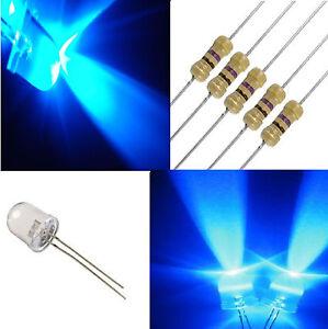 10 diodi led 10 mm blu alta luminosità + RESISTENZE omaggio PROFESSIONALI