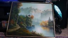"Vintage Asian Mountain Pagoda Original Oil Painting Signed LIM HK 24"" x 30"" VG"