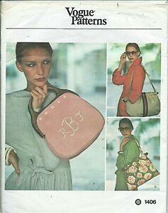 Vogue 1406 sewing pattern 70's HANDBAG Bermuda Purse TOTE BAG sew Monogram UNCUT